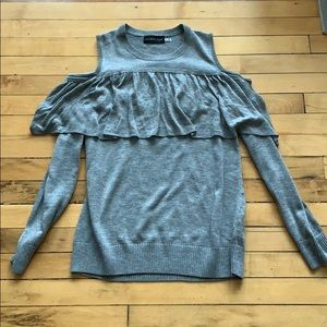 Mustard Seed Gray Off the Shoulder Sweater